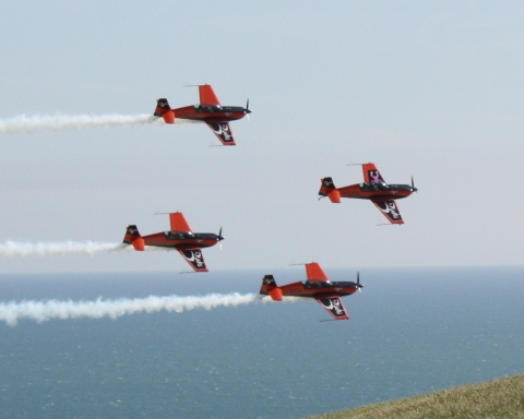 We moved up to Beachy Head for the second part of the show and were lucky to see this aerobatic group fly past so close you could almost touch them!